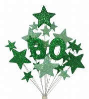 Number age 80th birthday cake topper decoration in shades of green - free postage
